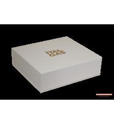 Коробка с магнитами для посуды и матрешки с атласным ложементом белая
