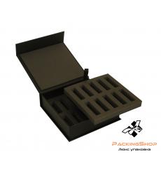 Коробка с магнитами ложемент изолон двухъярусный серый для пробников