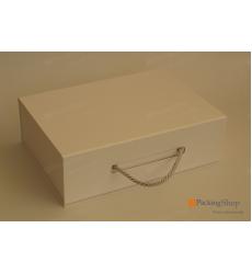 Коробка белая с ручкой 39*26,5*12 см