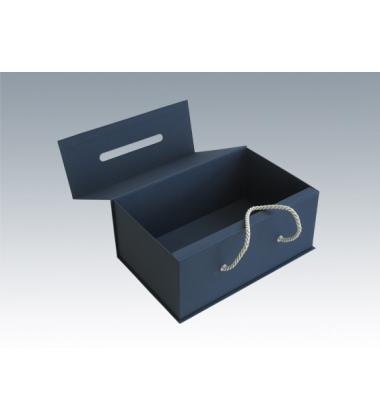 Коробка с ручкой синяя 36*21*15 см.
