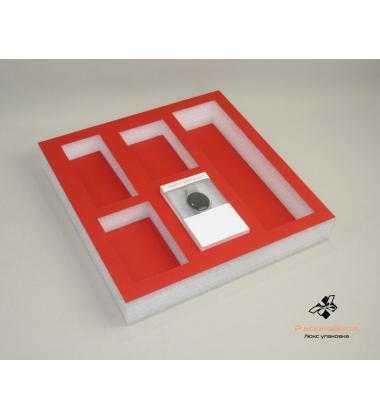 Ложемент изолон с кашировкой дизайнерским картоном красный