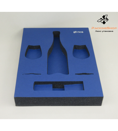 Ложемент поролон черный под бутылку два бокала штопор
